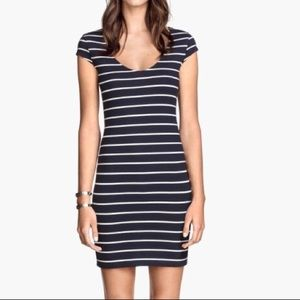 Navy & White Striped Bodycon Mini Dress
